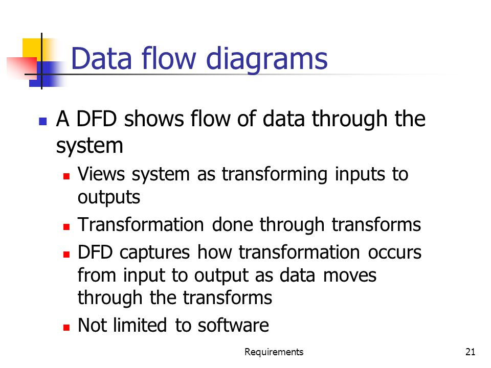Data flow diagrams A DFD shows flow of data through the system