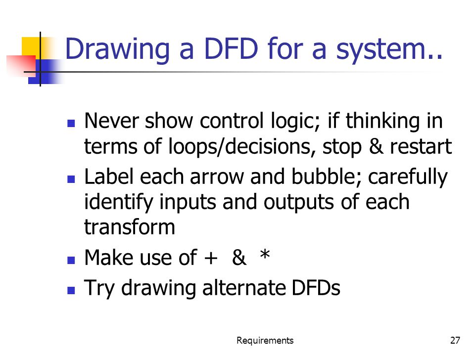 Drawing a DFD for a system..