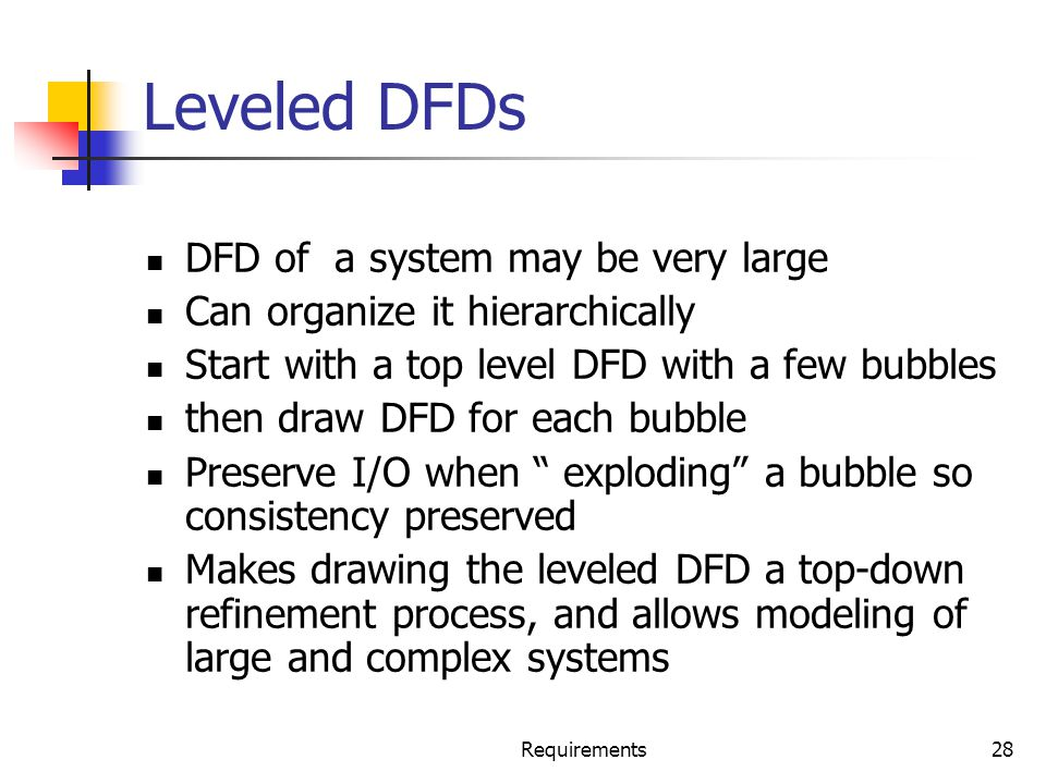 Leveled DFDs DFD of a system may be very large