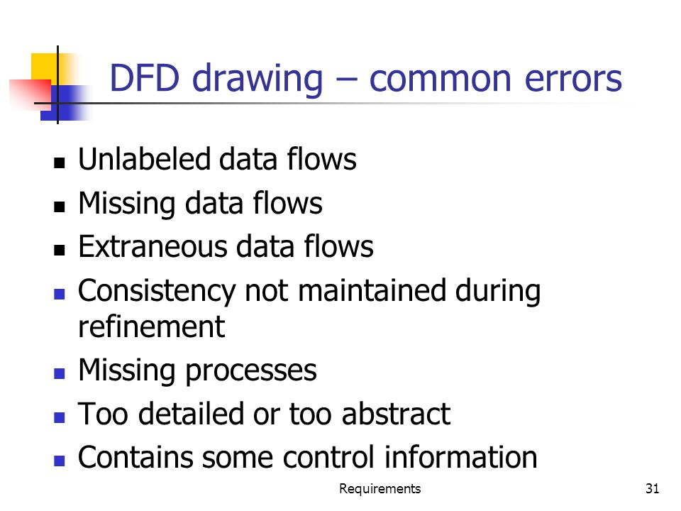 DFD drawing – common errors