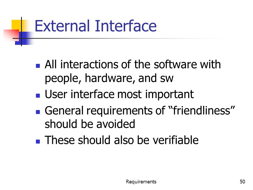 External Interface All interactions of the software with people, hardware, and sw. User interface most important.