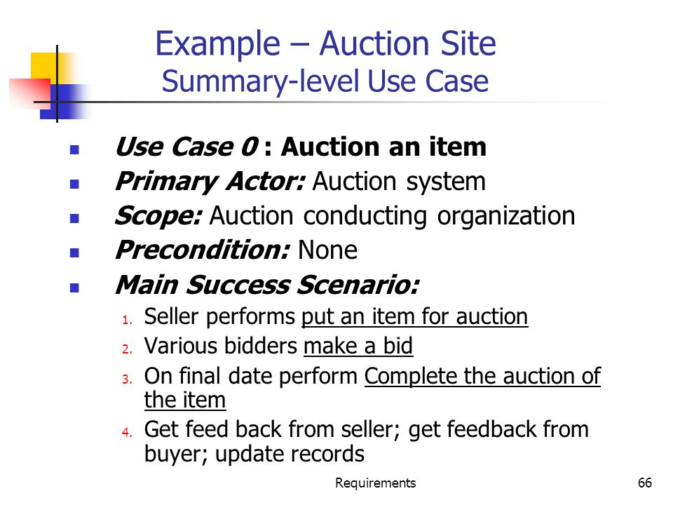 Example – Auction Site Summary-level Use Case
