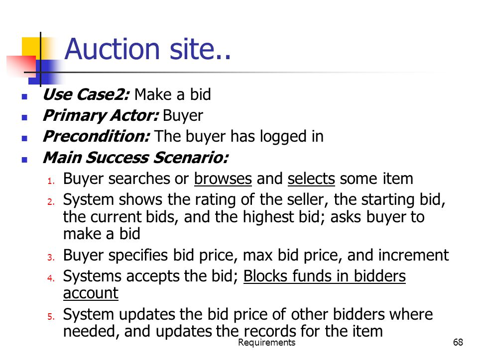 Auction site.. Use Case2: Make a bid Primary Actor: Buyer