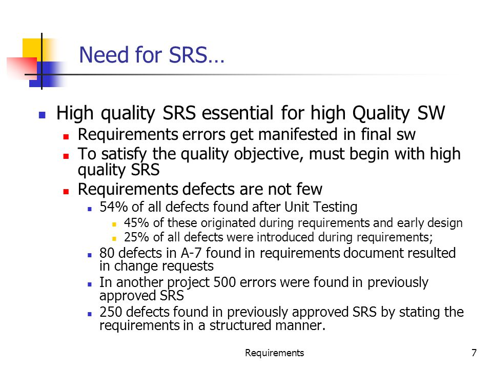 Need for SRS… High quality SRS essential for high Quality SW
