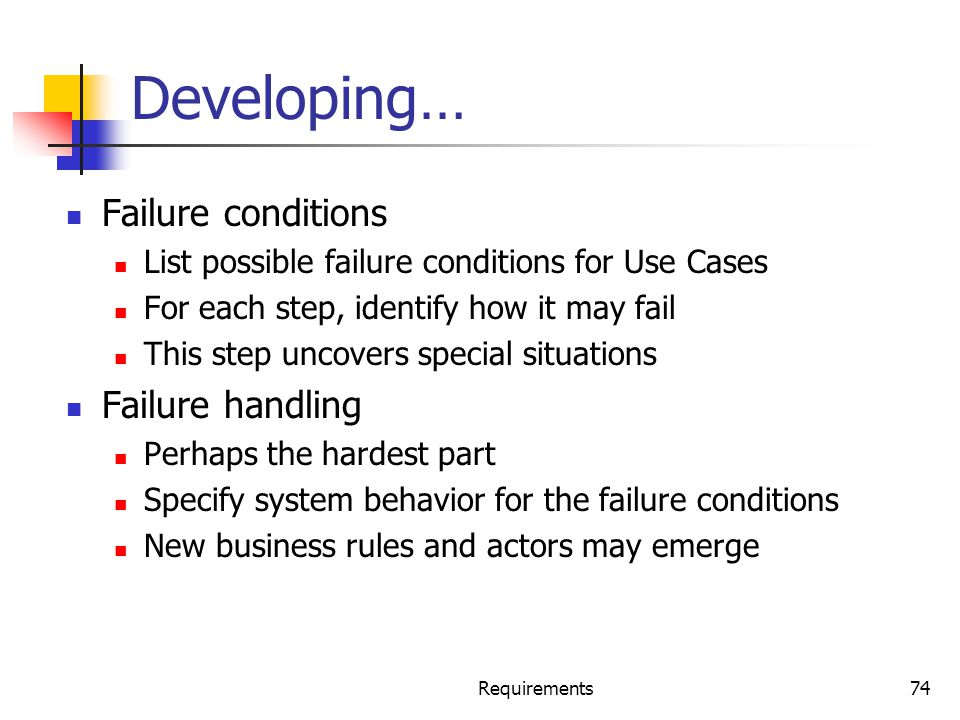 Developing… Failure conditions Failure handling