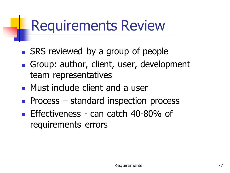 Requirements Review SRS reviewed by a group of people