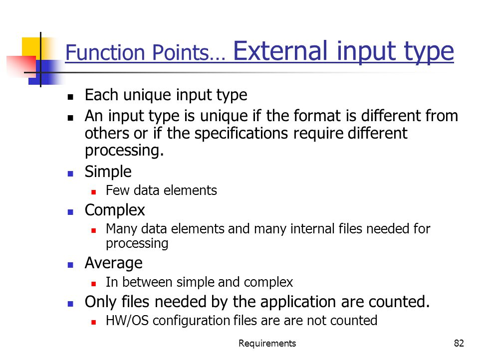 Function Points… External input type
