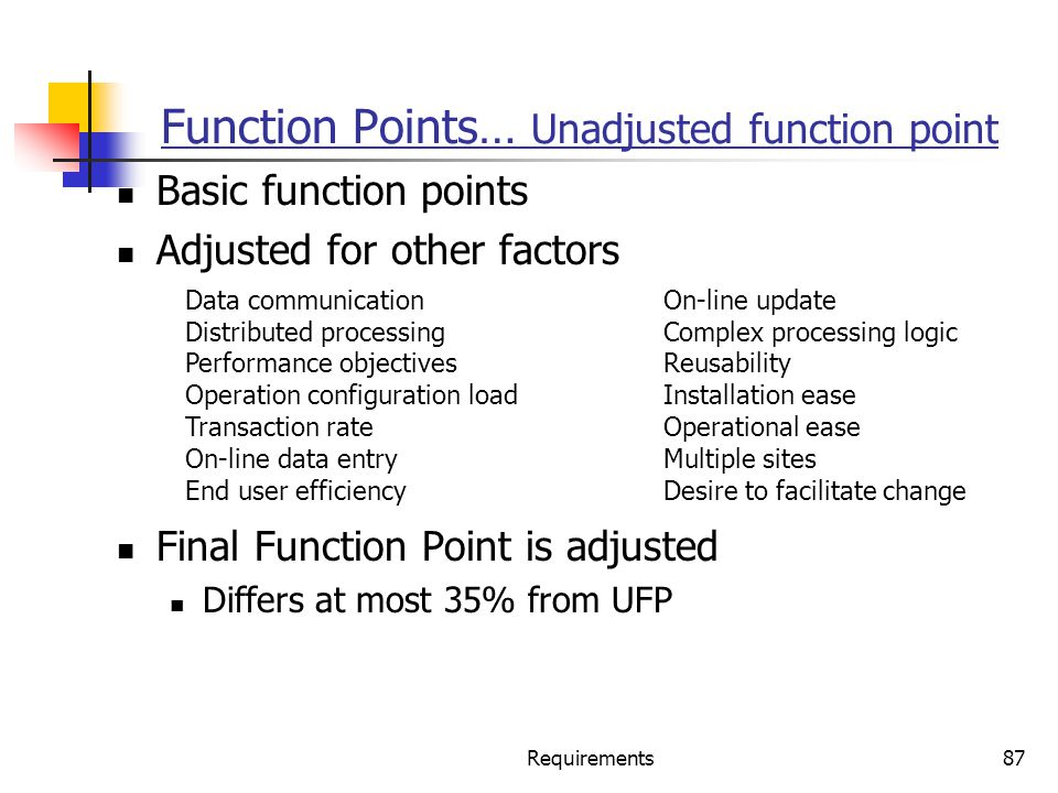 Function Points… Unadjusted function point
