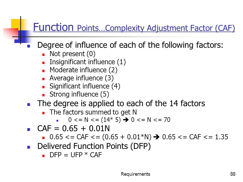 Function Points…Complexity Adjustment Factor (CAF)