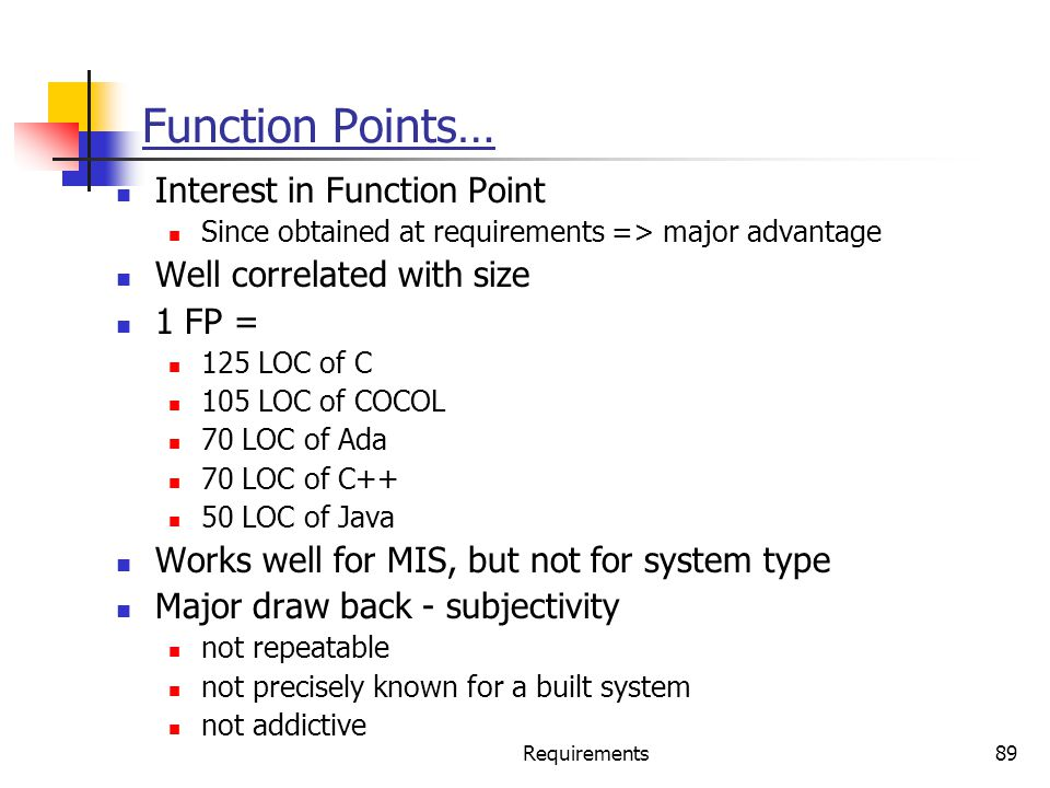 Function Points… Interest in Function Point Well correlated with size