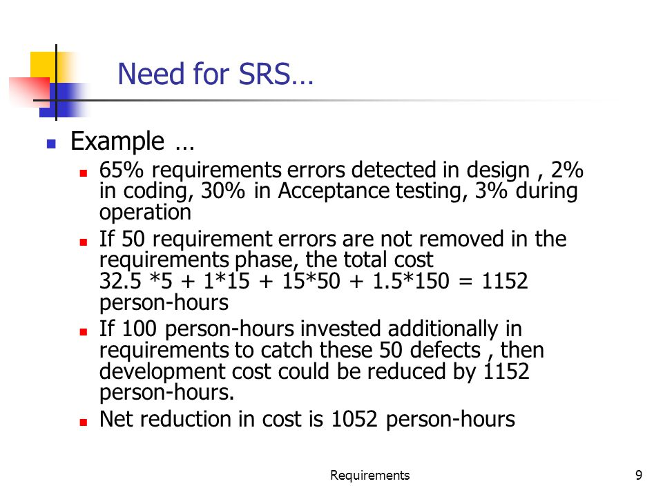 Need for SRS… Example … 65% requirements errors detected in design , 2% in coding, 30% in Acceptance testing, 3% during operation.
