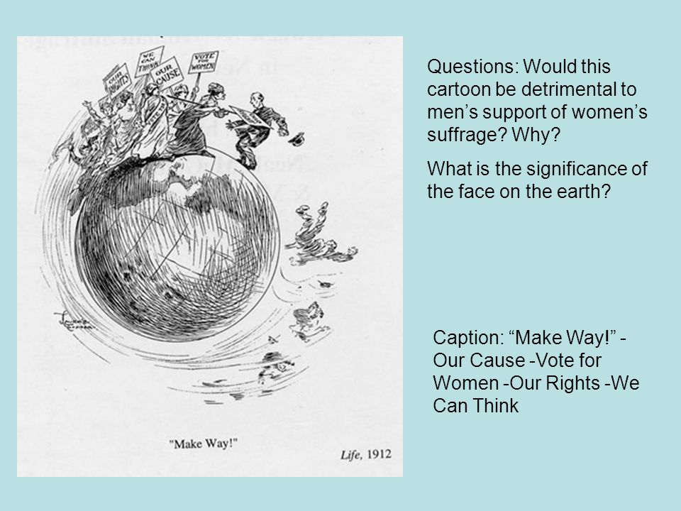 Questions: Would this cartoon be detrimental to men's support of women's suffrage Why