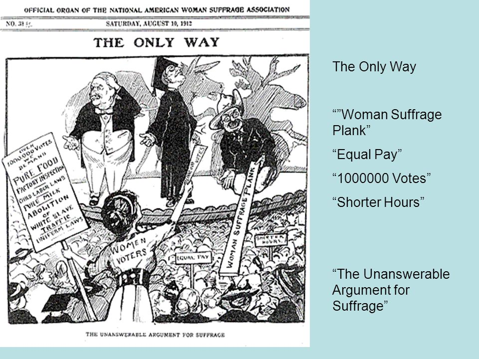 The Only Way Woman Suffrage Plank Equal Pay 1000000 Votes Shorter Hours The Unanswerable Argument for Suffrage