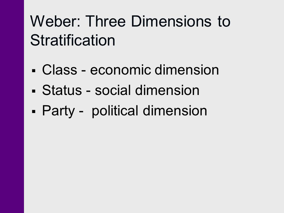 Weber: Three Dimensions to Stratification