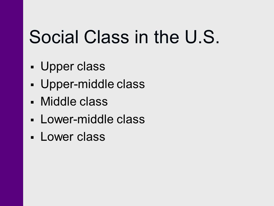 Social Class in the U.S. Upper class Upper-middle class Middle class