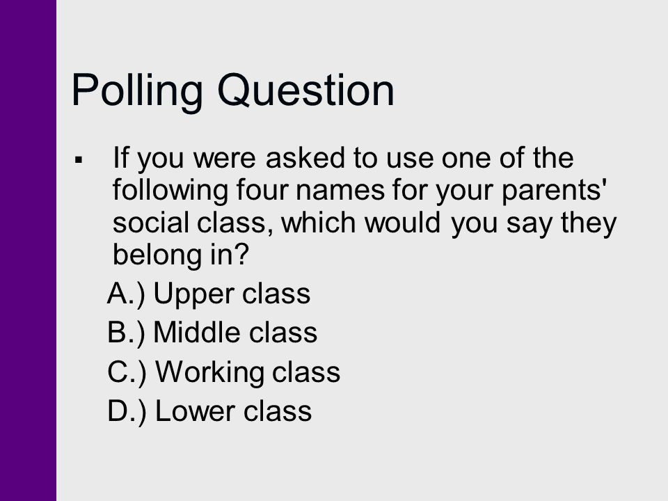 Polling Question If you were asked to use one of the following four names for your parents social class, which would you say they belong in