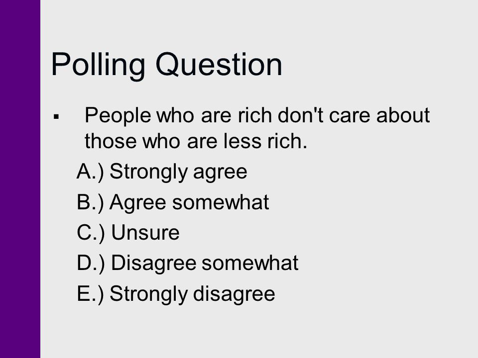Polling Question People who are rich don t care about those who are less rich. A.) Strongly agree.