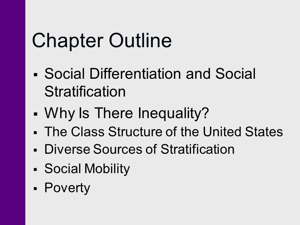 Chapter Outline Social Differentiation and Social Stratification