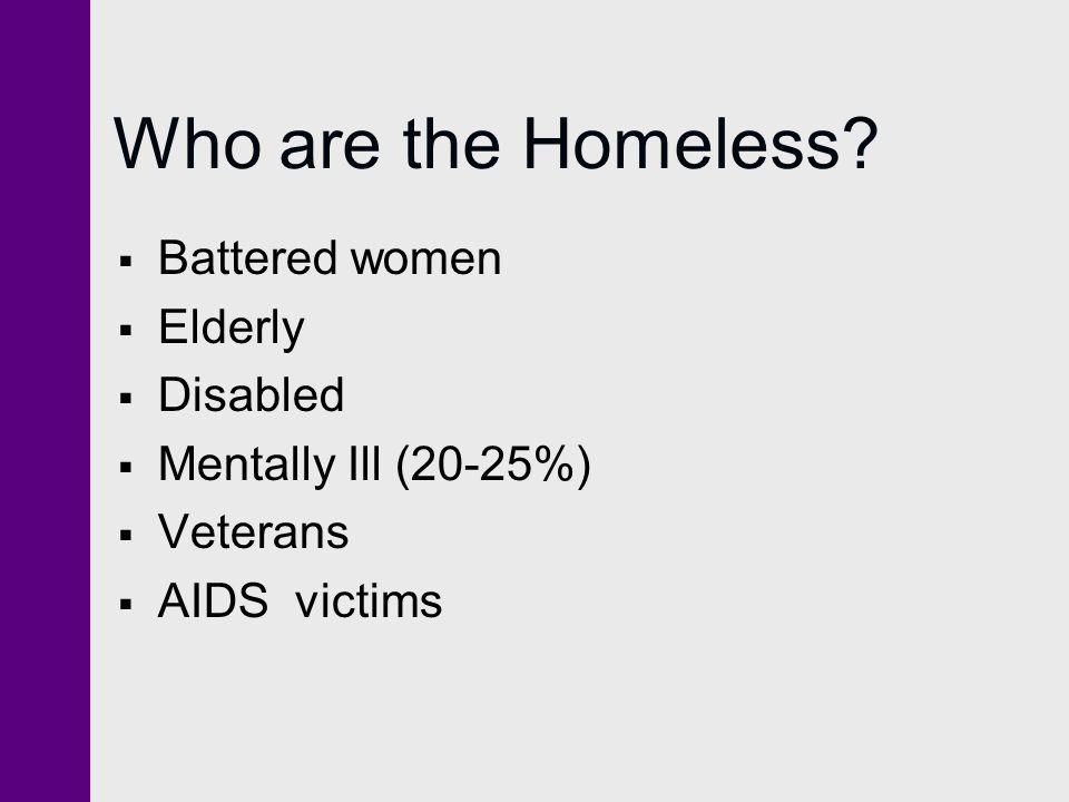 Who are the Homeless Battered women Elderly Disabled
