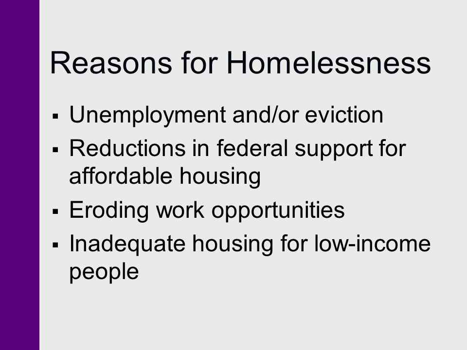 Reasons for Homelessness