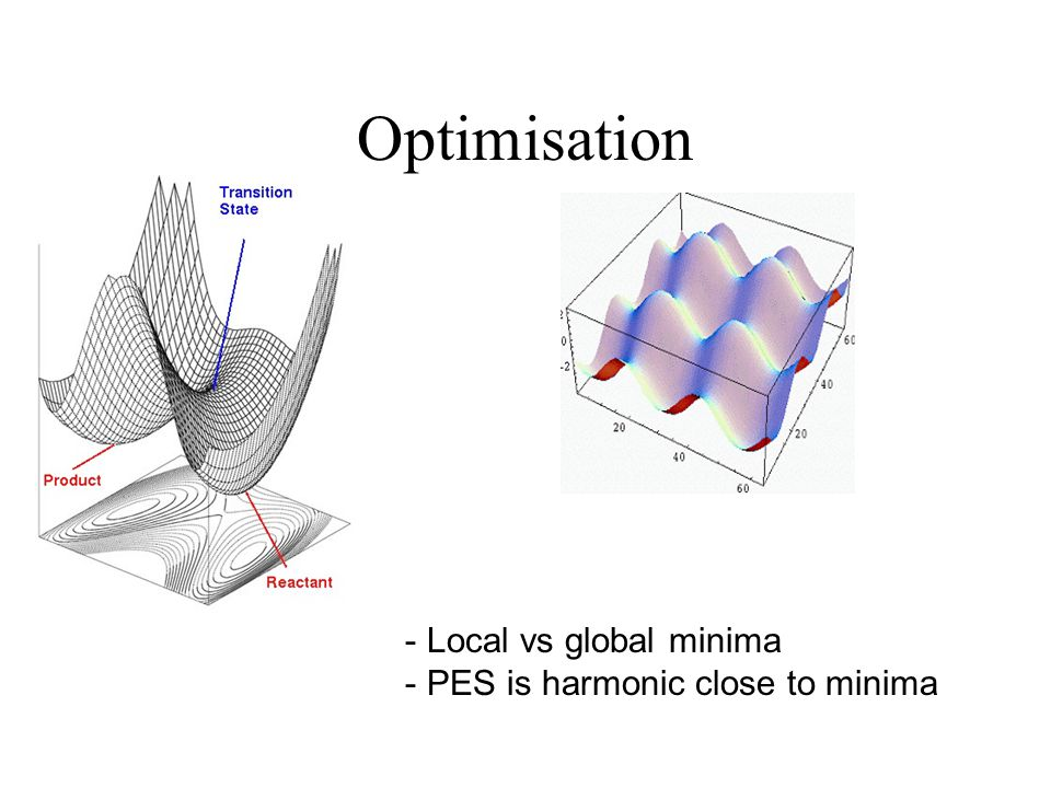 Optimisation Local vs global minima PES is harmonic close to minima
