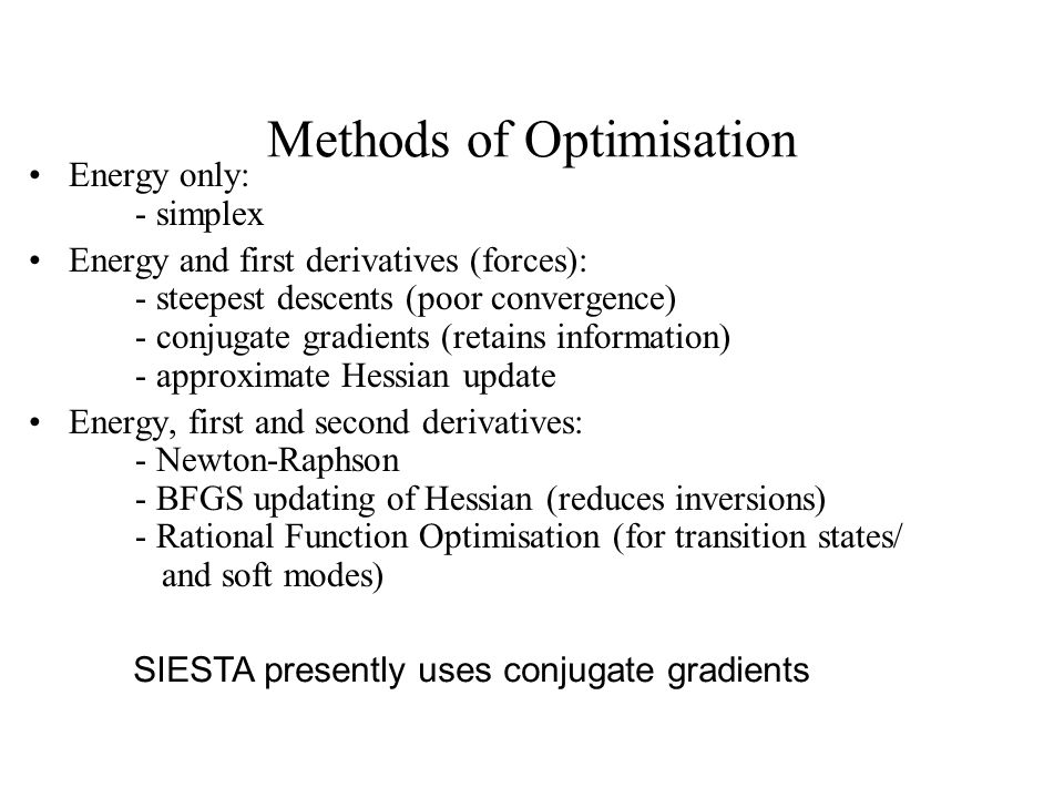 Methods of Optimisation