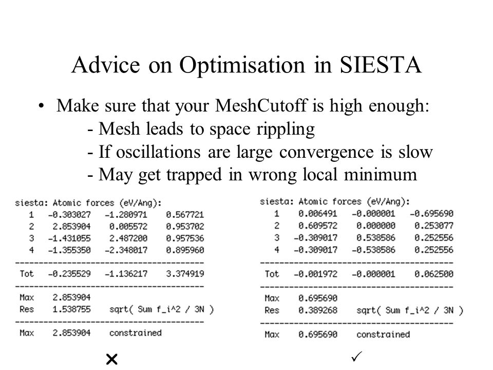 Advice on Optimisation in SIESTA