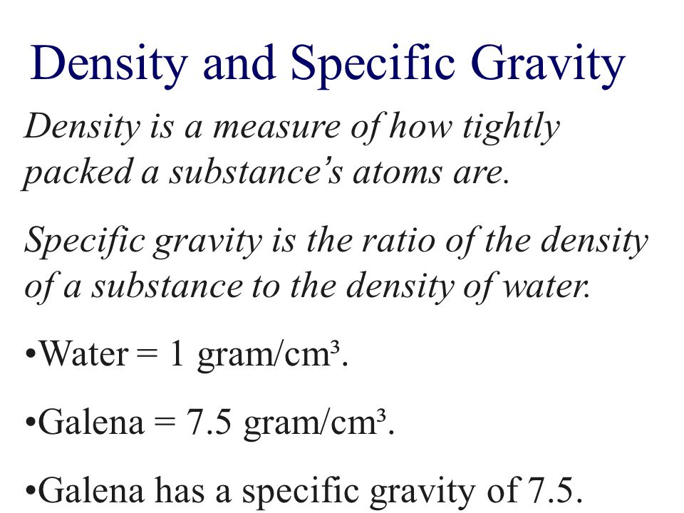 Density and Specific Gravity