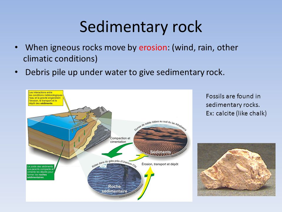 Sedimentary rock When igneous rocks move by erosion: (wind, rain, other climatic conditions) Debris pile up under water to give sedimentary rock.