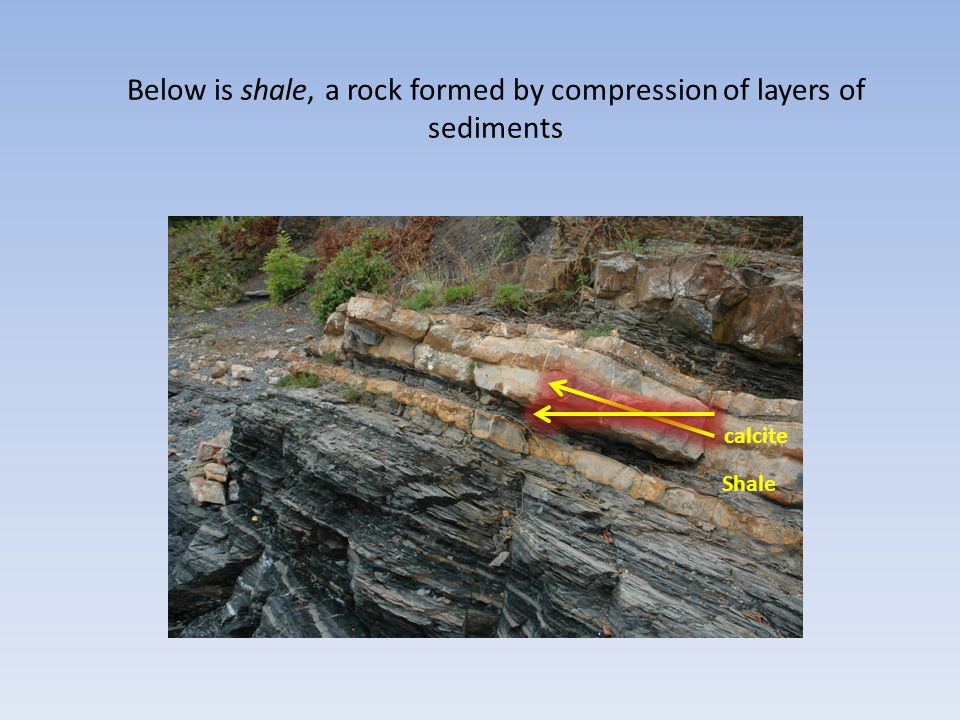 Below is shale, a rock formed by compression of layers of sediments