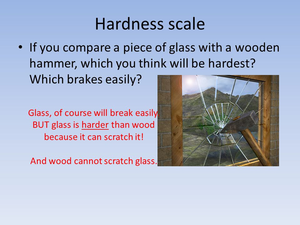 And wood cannot scratch glass.
