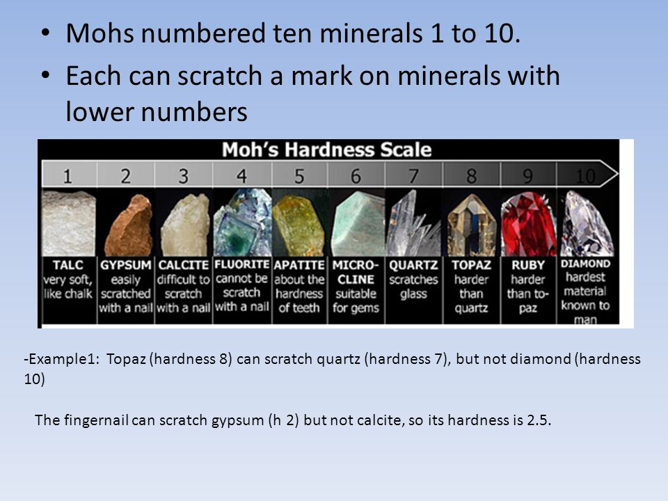 Mohs numbered ten minerals 1 to 10.