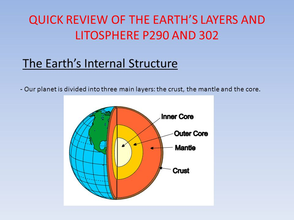 QUICK REVIEW OF THE EARTH'S LAYERS AND LITOSPHERE P290 AND 302