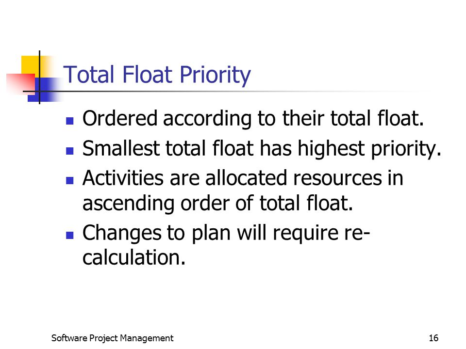 Total Float Priority Ordered according to their total float.