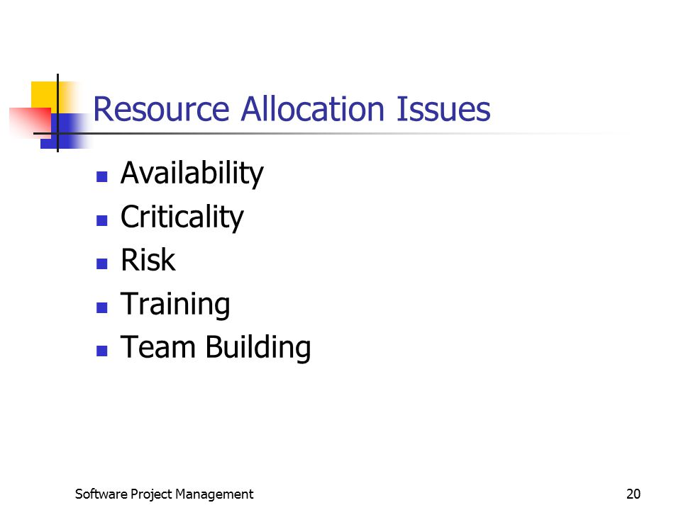 Resource Allocation Issues