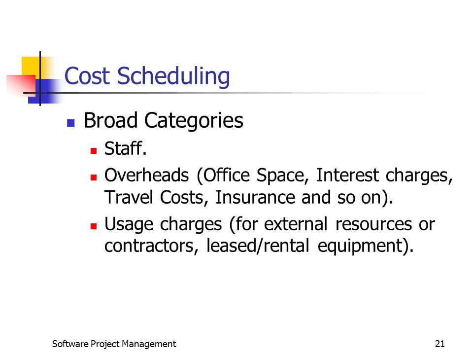 Cost Scheduling Broad Categories Staff.