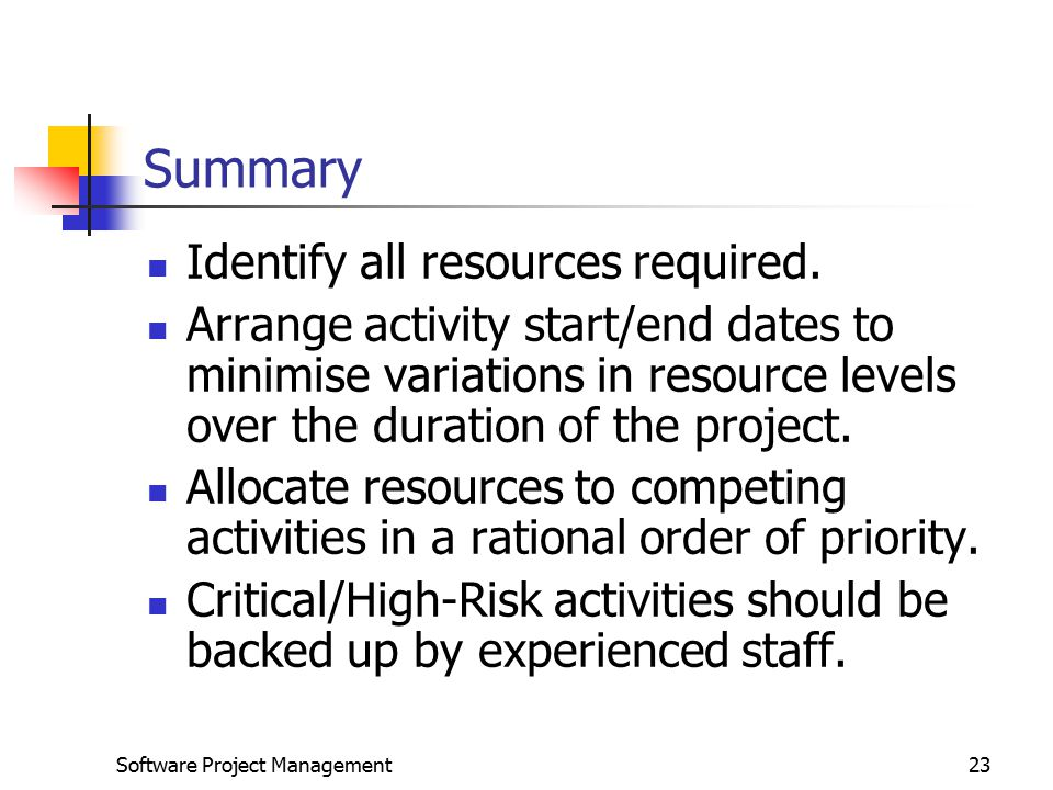 Summary Identify all resources required.