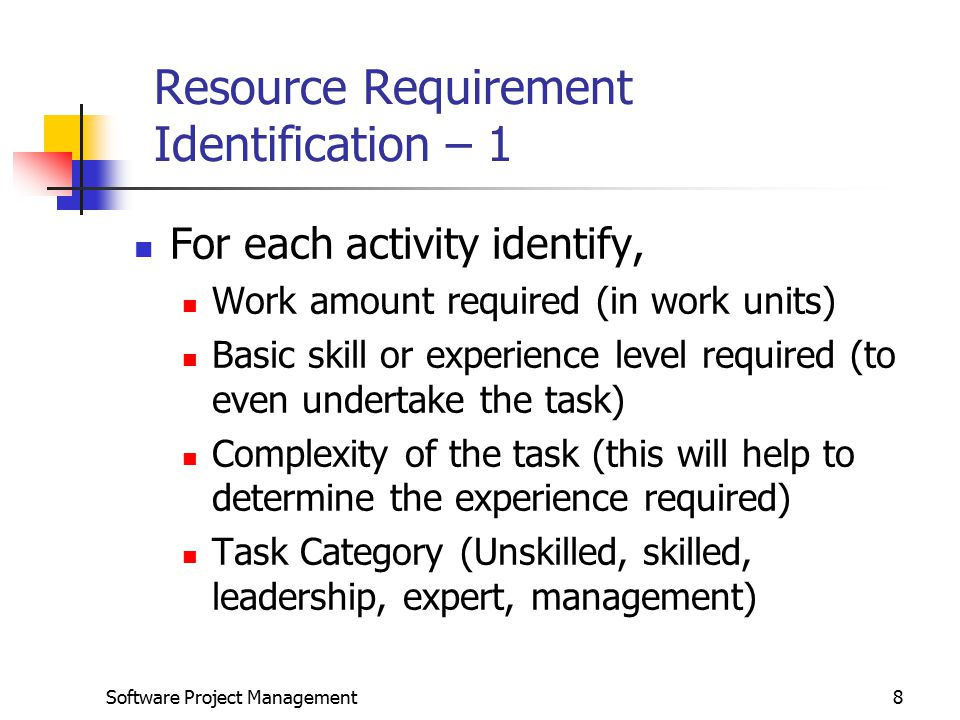 Resource Requirement Identification – 1