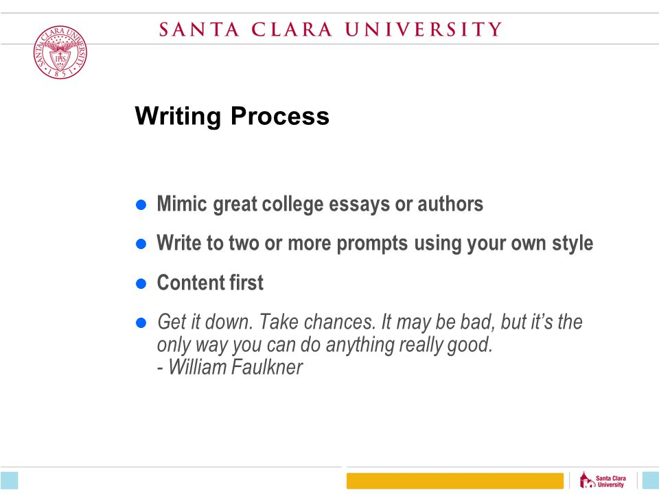 Writing Process Mimic great college essays or authors