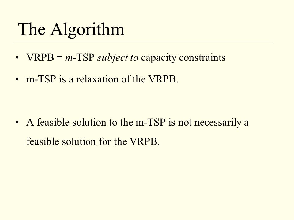The Algorithm VRPB = m-TSP subject to capacity constraints