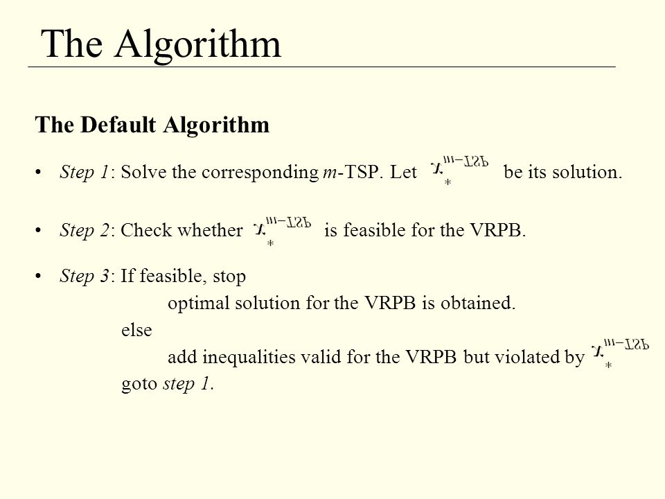 The Algorithm The Default Algorithm