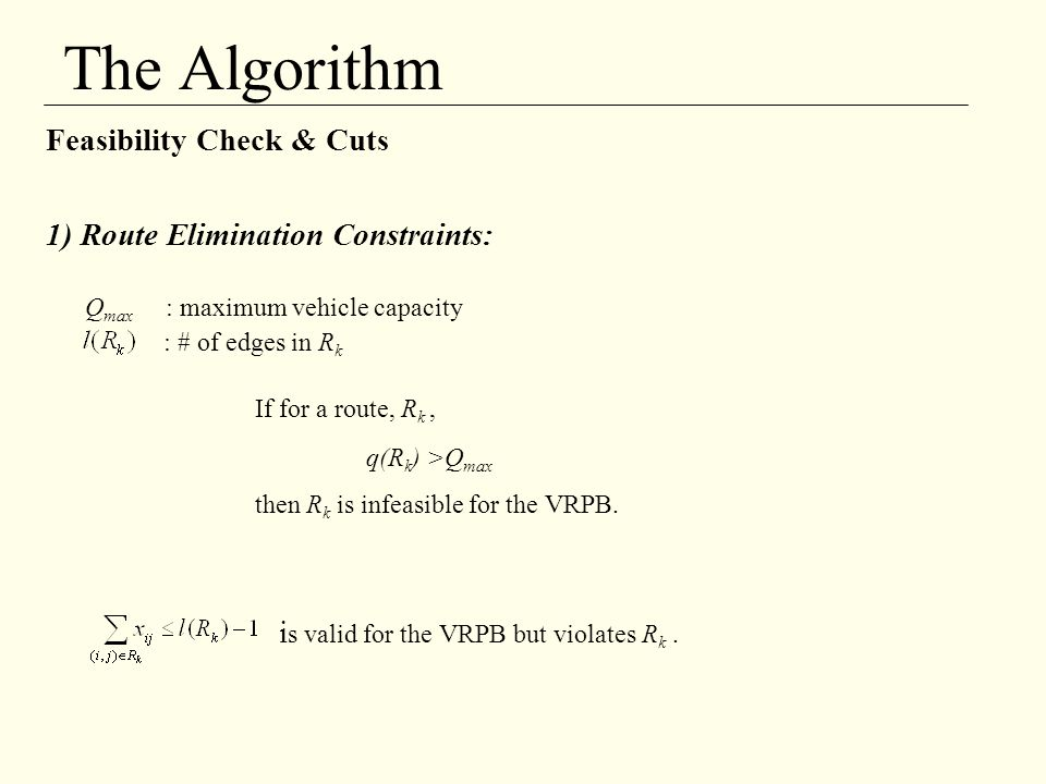 The Algorithm Feasibility Check & Cuts
