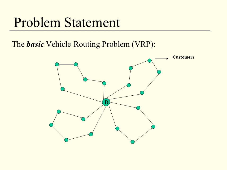 Problem Statement The basic Vehicle Routing Problem (VRP): Customers D