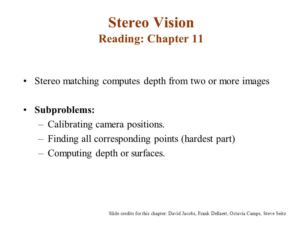 Stereo Vision Reading: Chapter 11