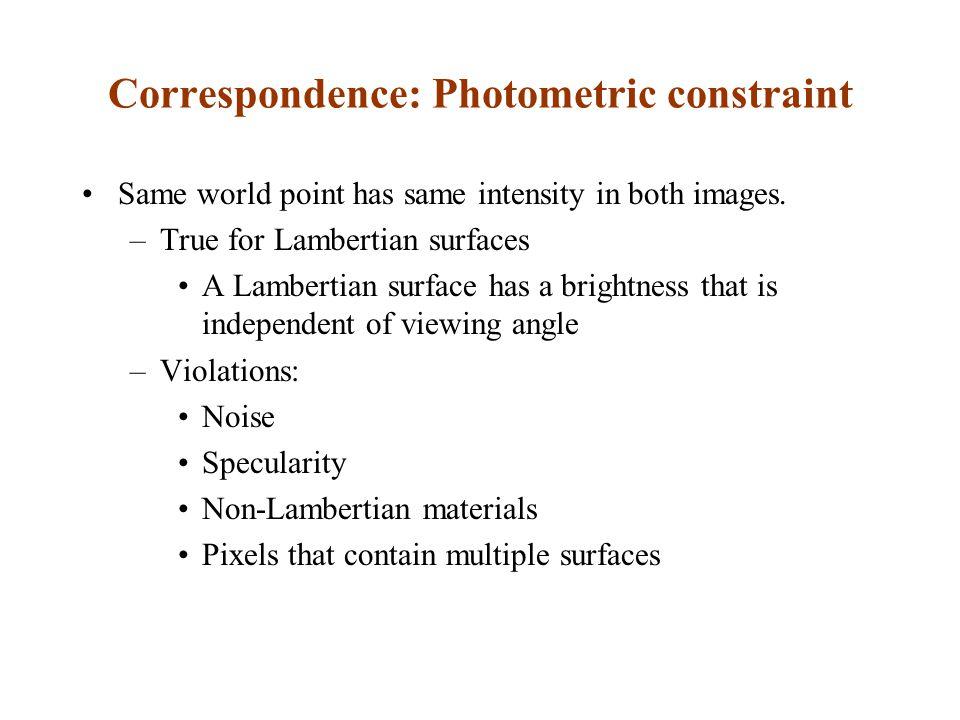 Correspondence: Photometric constraint