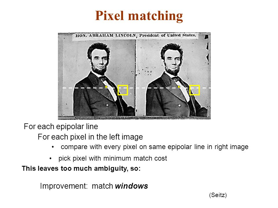 Pixel matching For each epipolar line For each pixel in the left image