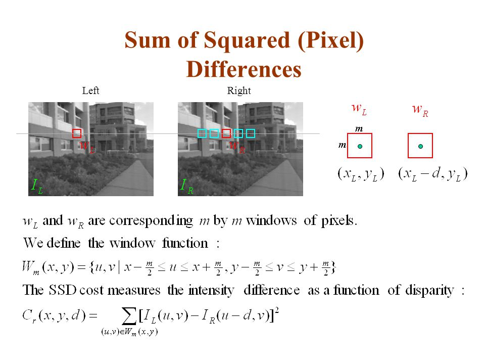 Sum of Squared (Pixel) Differences