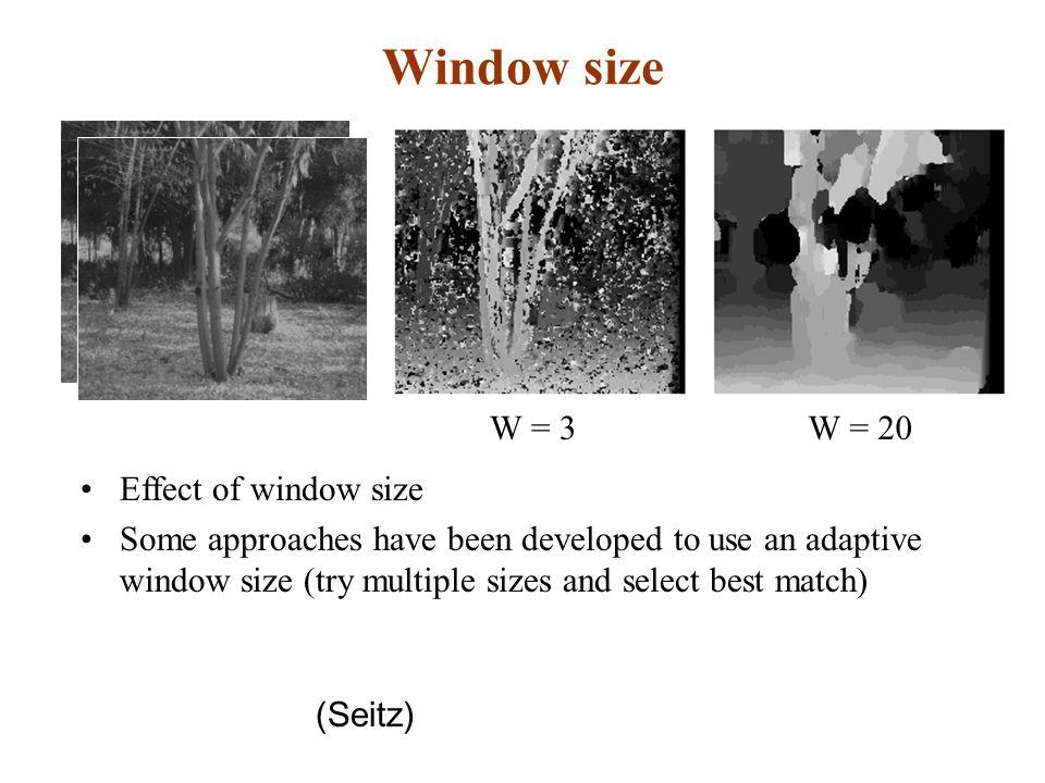 Window size W = 3 W = 20 Effect of window size