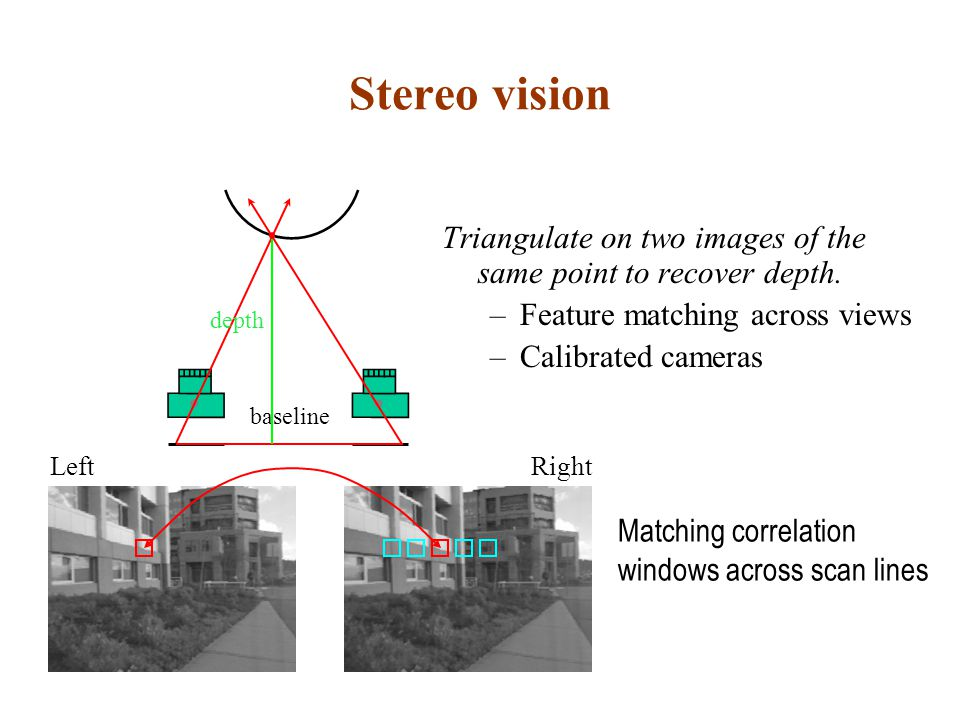 Stereo vision Triangulate on two images of the same point to recover depth. Feature matching across views.