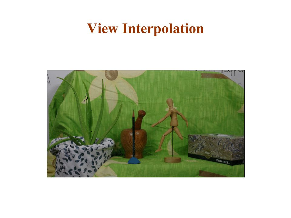 View Interpolation This is the result of view interpolating using extracted depth information.
